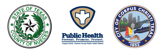 County of Nueces seal, Public Health logo, and City of Corpus Christi seal